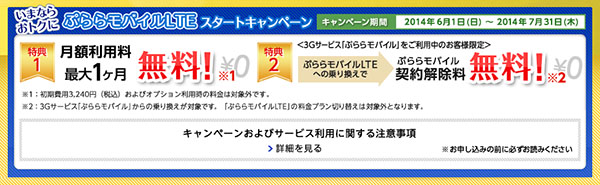 ぷららモバイルLTE スタートキャンペーン