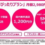 『UQ mobile』通話1200円分、データ容量1GBで月2980円の「ぴったりプラン」を2月19日から提供開始。最低利用期間は2年+自動更新とキャリアと変わらない内容に…