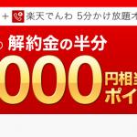楽天モバイル、通話SIM+5分かけ放題オプション契約で5000円相当のポイントプレゼント!